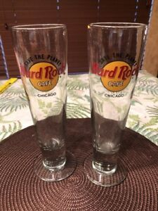 Pair-2-Hard-Rock-Cafe-Save-The-Planet-Chicago-Pilsner-Beer-Glasses