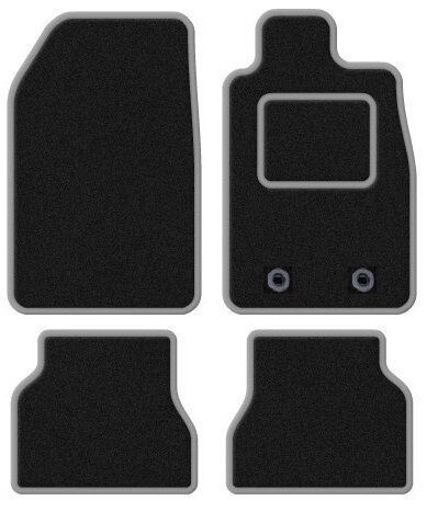 MERCEDES W203 C CLASS 2000-2007 TAILORED BLACK CAR MATS WITH SILVER TRIM