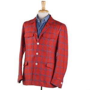 NWT-2695-ISAIA-039-Stella-039-Red-Blue-Check-Soft-Silk-Shirt-Jacket-40-R-Eu-50-M
