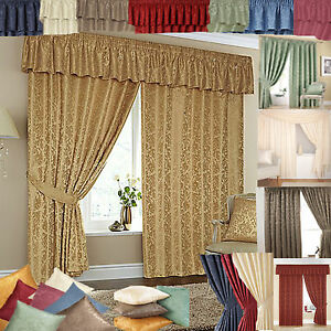 Image Is Loading CHEAP LINED READY MADE CURTAINS MATCHING PELMETS Amp