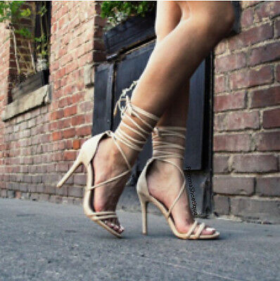 NUDE LACE UP SUEDE HIGH HEEL STILETTO OPEN TOE FASHION SINGLE SOLE NEW HOT