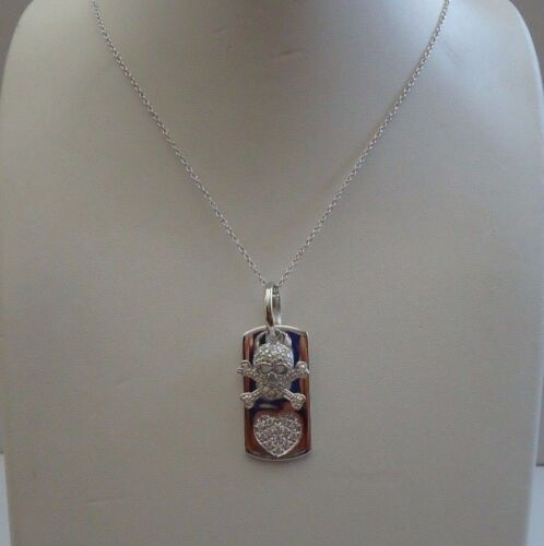 925 STERLING SILVER DOG TAG & SKULLBONE NECKLACE PENDANT W 2 CT LAB DIAMONDS