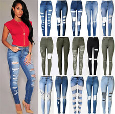 UK Womens Celeb Stretch Ripped Frayed Ladies High Waist Denim Pants Jeans 6-18