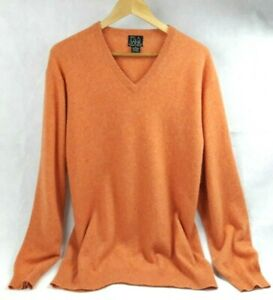 Jos-A-Bank-Cashmere-Sweater-XL-Pullover-V-Neck-Orange-Travelers-Collection