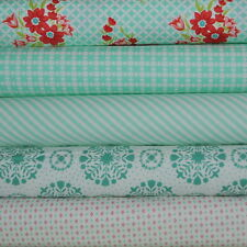 Handmade 5 Aqua Fabric Fat Quarters by Bonnie & Camille for Moda, 1.25 yards tot