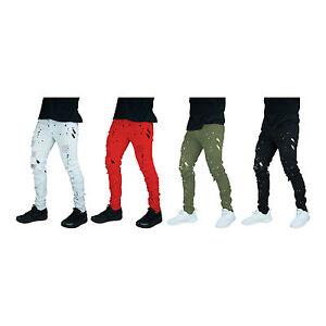 Men-039-s-pants-JEAN-biker-DENIM-ripped-jeans-Slim-Fit-Biker-Distressed-SPLASH