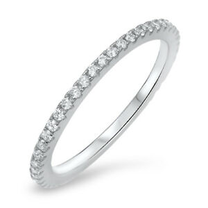 Sterling Silver 925 STACKABLE ETERNITY DESIGN CLEAR CZ BAND 2MM RING SIZES 4-10