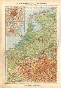 Paesi Bassi Cartina Fisica Olanda.Carta Geografica Antica Belgio Olanda Lussemburgo De Agostini 1927 Antique Map Ebay