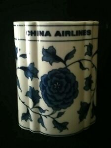 VTG-China-Airlines-Blue-White-Pot-Vase-4-Inch-Rare-AF-FREE-Delivery-UK