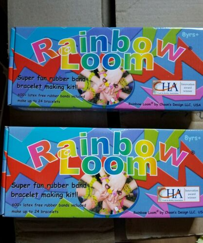 Set of 2 Rainbow Loom Rubber Bands 600 Bands /& 24 C-ClipsVariety of Choice