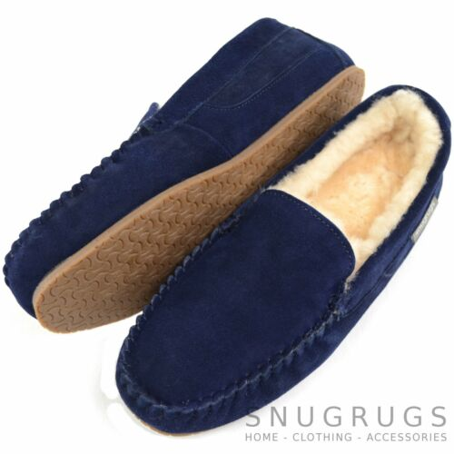 Mens Luxury Sheepskin Slippers Loafers with Rubber Sole
