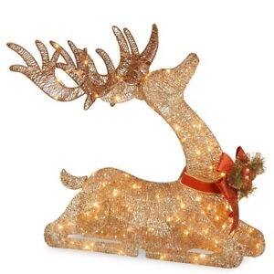 Details About Christmas Decorations Xmas Gold Deer Pre Lit Outdoor Yard Holiday Decor Lights