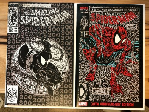 Spider-Man #1 Shattered Variant SET RED and Amazing Spider-man 800 B/&W