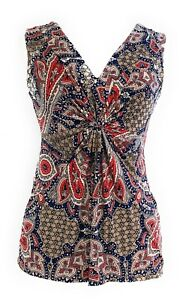 Ladies-Petite-Paisley-Printed-Knot-Front-V-Neck-Sleeveless-Knit-Top-Blouse-NWT