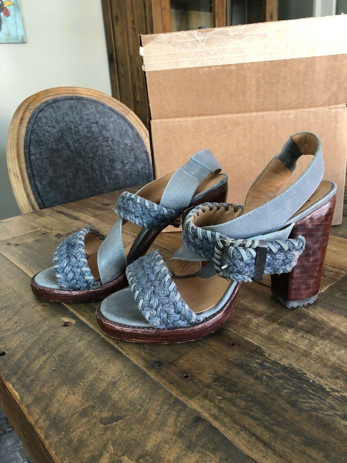 Fluevog Hopscotch sz 8  US donna EUC grigio sandal block heel  benvenuto a scegliere