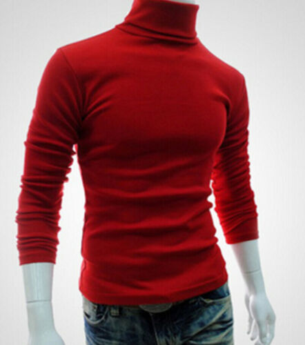 Winter Men Knitted Roll Turtle Neck Pullover Jumper Knitwear Cotton Sweater