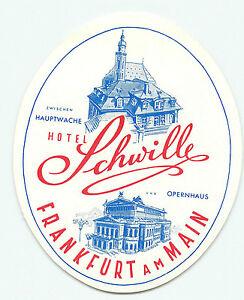FRANKFURT GERMANY DER HESSICHE HOF HOTEL LUGGAGE LABEL