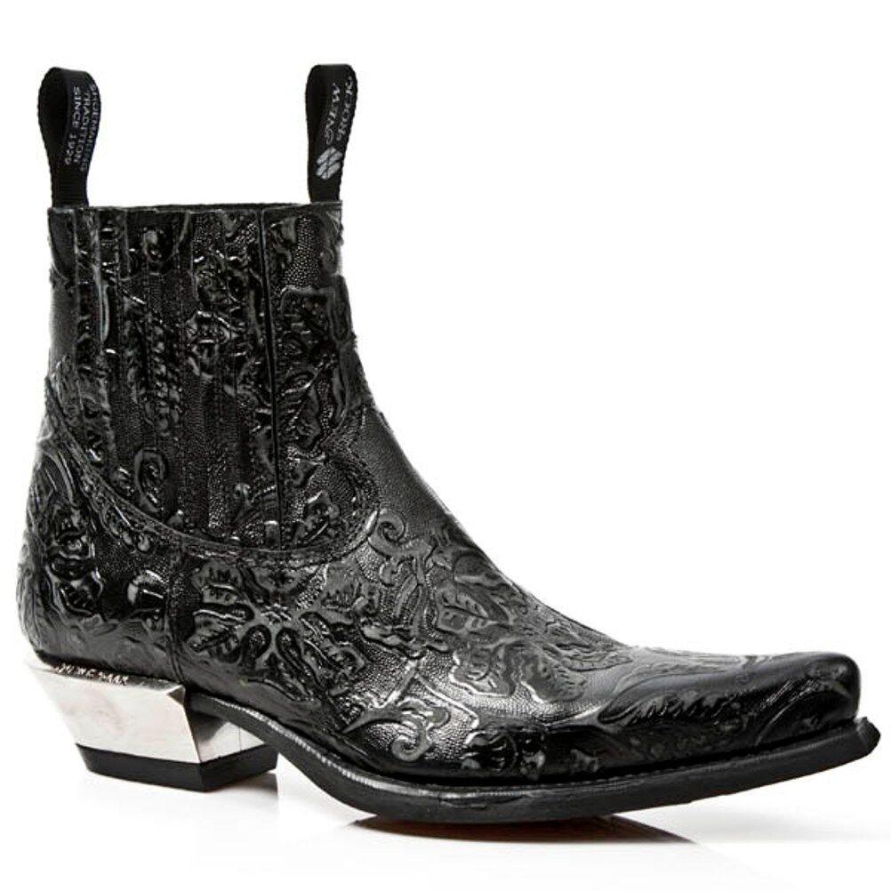nouveaurock nouveau Rock Homme Bottes Cowboy Style M.7953 S21 Noir Vintage Steel Talons