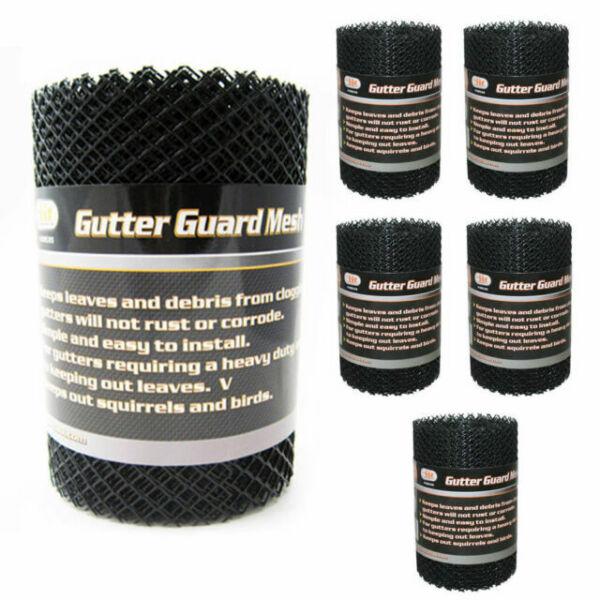 2 Rolls Gutter Guard Mesh 16 Ft X 6 Inch Black Plastic