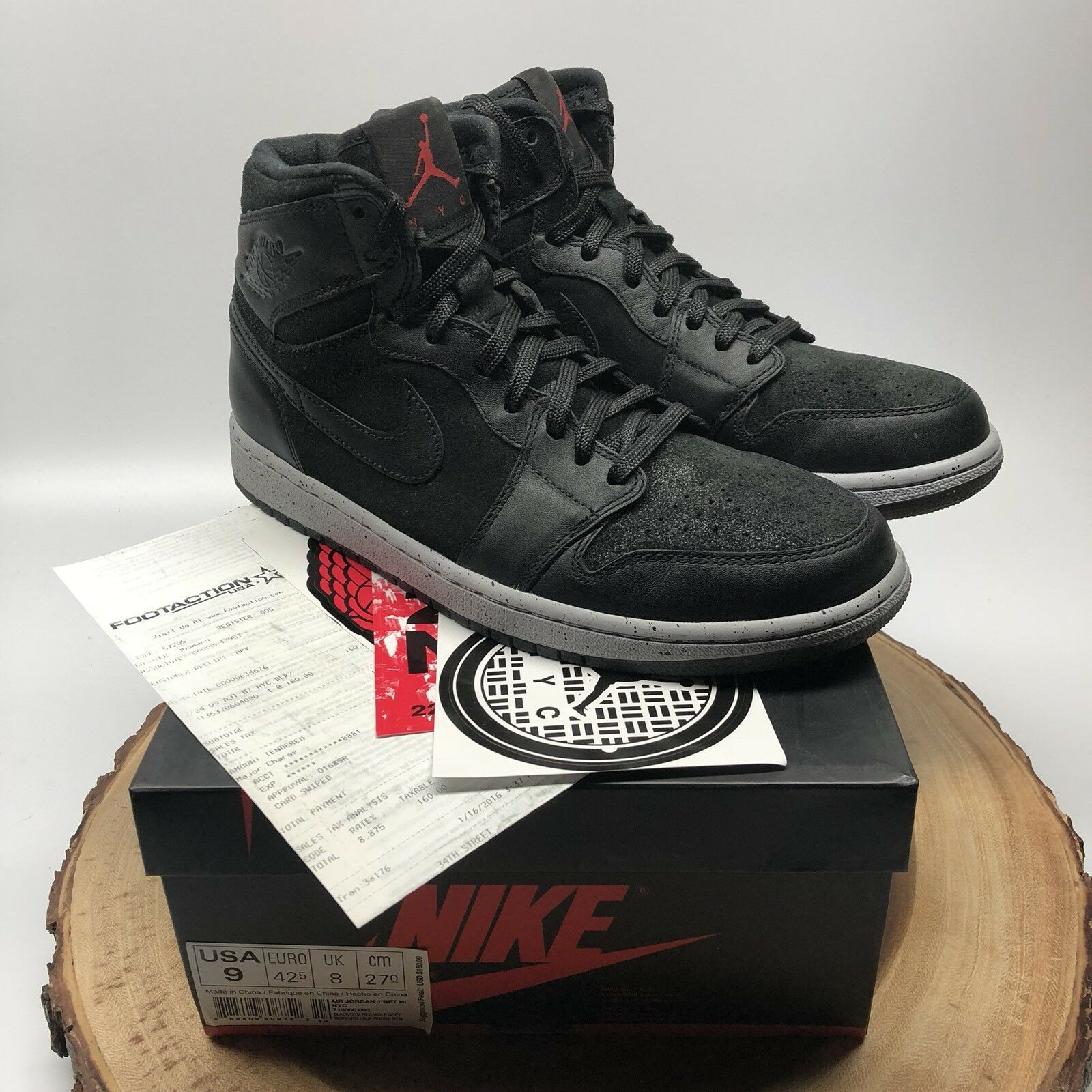 Nike Air Jordan Retro I NYC 23NY Black Oreo 715060 002 Size 9 PSNY XI VI V IV I
