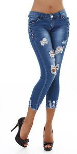 Jeans Ladies Skinny Jeans 7/8 Jeans Trousers Used Look