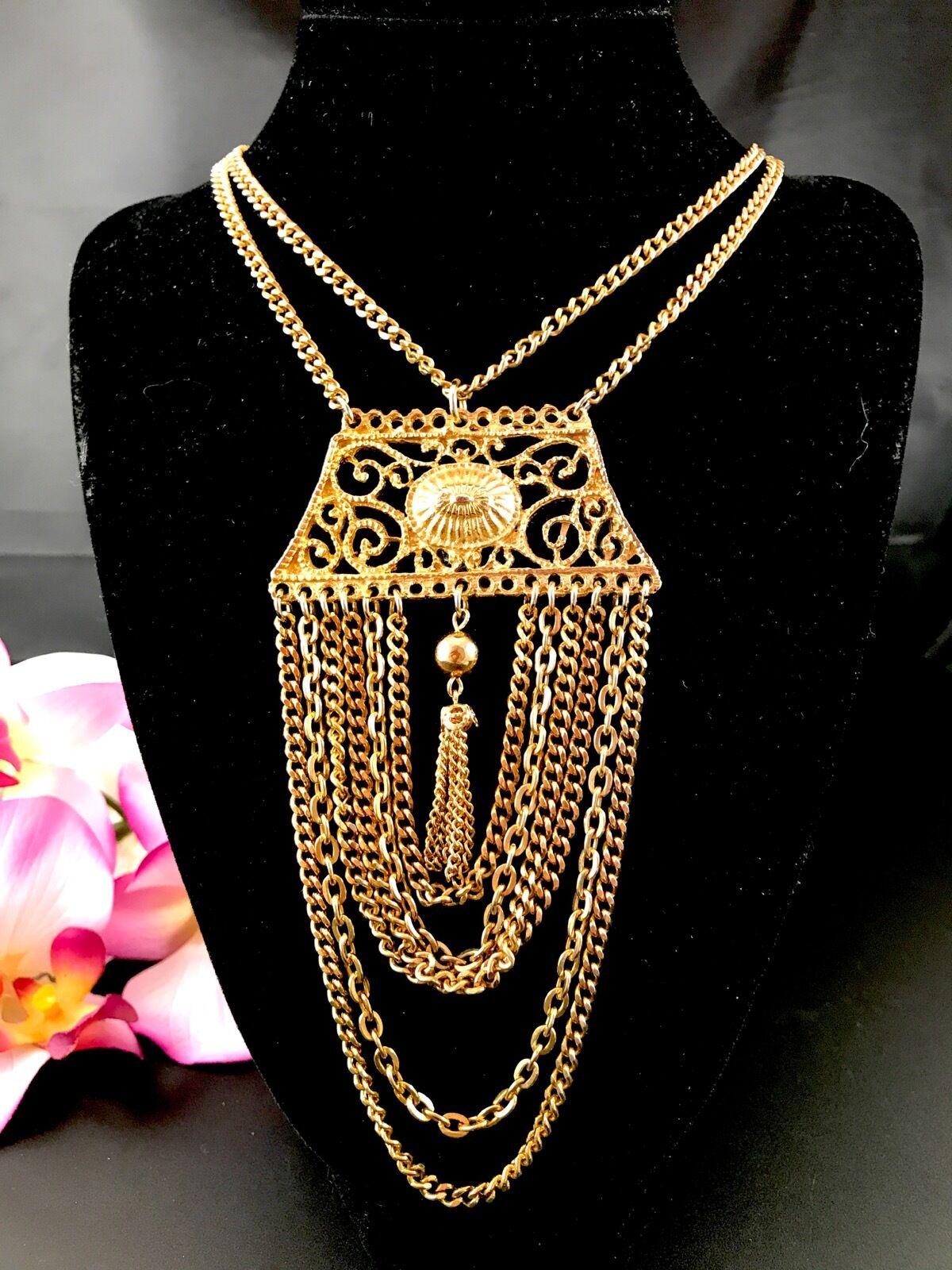 Fabuleux goldette Multi-Brins Étrusque de Style Collier Pendantes Drapé