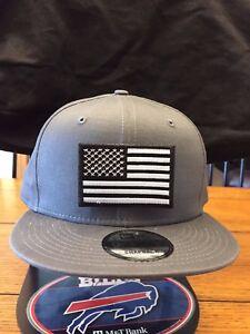 New Era NE400 Navy Blue Flat Brim Snapback Hat//Cap W// Grey Black American Flag
