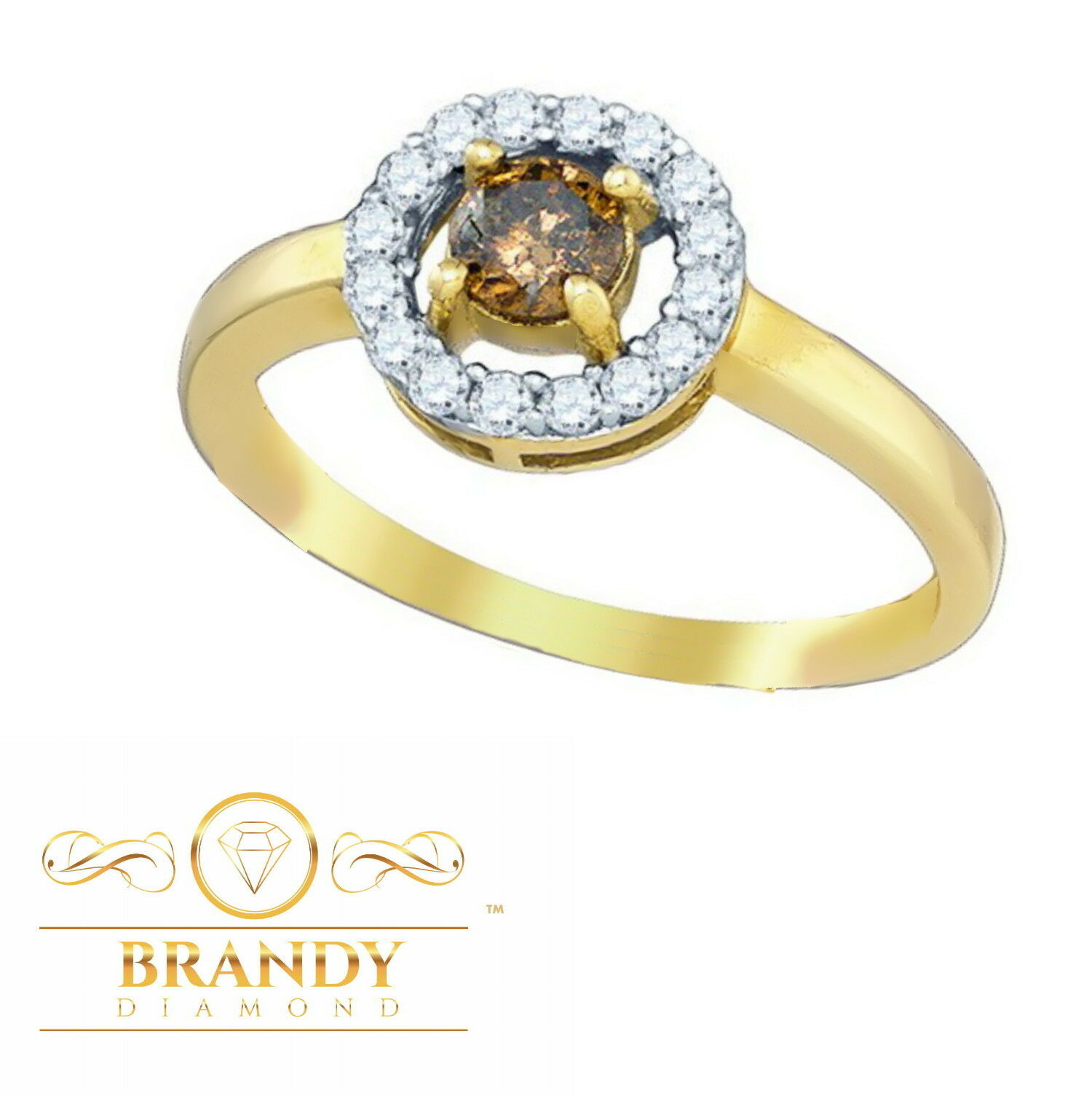 Brandy Diamond® Chocolate Brown 10K gold Round Solitaire Halo Ring .50 Ct
