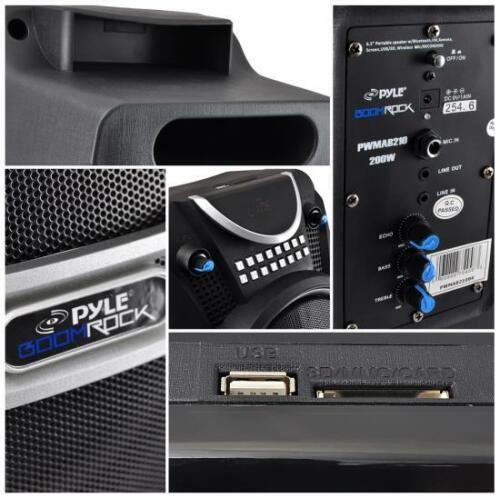 Pyle PWMAB210BK 300W Bluetooth Portable Speaker /& Recorder w// Wireless Mic