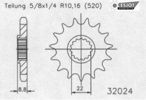 Esjot Pignon 13 dents Convient Pour KTM EXC 250 RACING Année De Construction 02-06