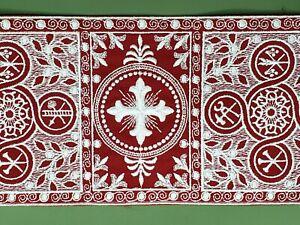 Vestment-Orphreys-Blanco-Cruz-en-Deep-Rojo-6-034-Ancho-Vintage-Banda-Vendido-Por