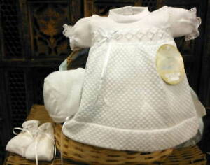 Will-039-beth-Newborn-Preemie-Infant-Baby-Girl-White-Knit-Dress-Set-Bonnet-Booties-N