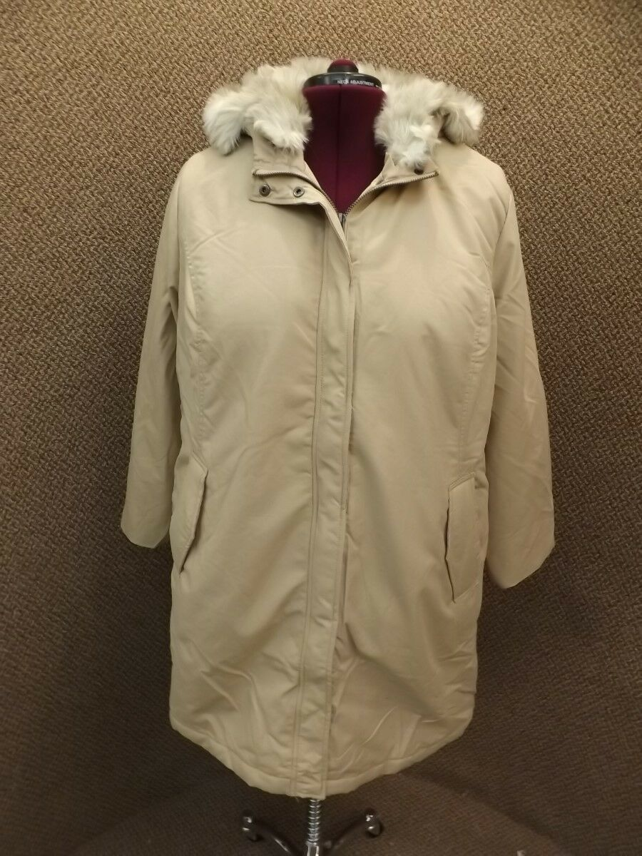 Ellos NEW NWT Tan Zip Up Hidden Snap Faux Fur Hood Winter Coat Womens Plus 20W