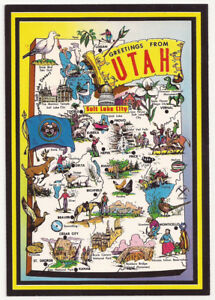 Details zu Salt Lake City Utah Pictorial Map Vintage Greetings Postcard-295
