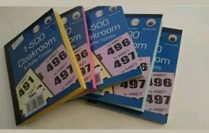 500 cloakroom draw raffle tambola numbered tickets book fates school
