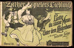 Sammlung-von-Notenblaettern-fuer-die-Zither-privat-gebunden-um-1916