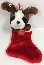 Dan Dee Plush Dog Christmas Stocking Sings 3 Songs Jingle Bells NWT Ears Move