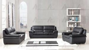Details about Modern Black Genuine Leather Sofa Set 3 Pcs American Eagle  EK-B113-BK
