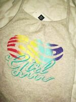 Gap Kids Girls Size 10 Gray Rainbow Logo Halter Top Tank Tee Shirt