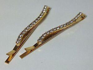 Haarspange mit 15 Strass-Steinen GOLD goldfarben geschwungene Form Haarklammer