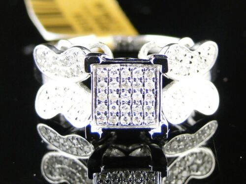 Ladies//Womens White Gold Finish Butterfly Fashion White Diamond Ring