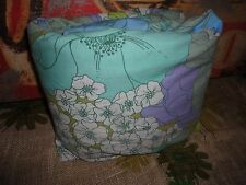 VINTAGE RETRO LOTS OF FLOWERS PURPLE BLUE GREEN QUEEN FITTED SHEET 8""