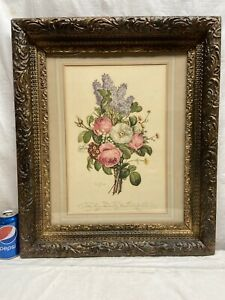 Vtg-LARGE-Victorian-Style-ORNATE-Wood-Framed-Lilac-Peony-SPRING-Bouquet-Print