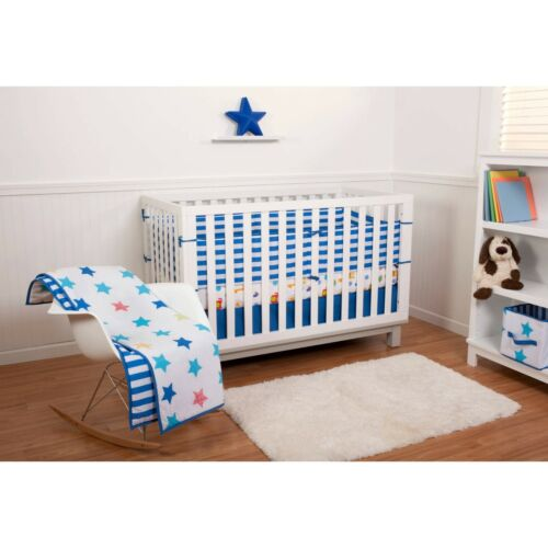 Little Bedding by Nojo Reversible StarsBlue Stripe 6Piece Crib bedding Set