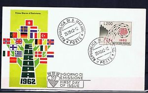 ST-MARIN-Europa-CEPT-1962-FDC
