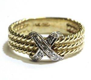14k-yellow-gold-rope-band-X-diamond-09ct-SI1-H-cluster-ring-5g-estate-womens