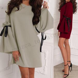 ZANZEA-Women-Bell-Sleeve-Mini-Dress-Bowknot-Evening-Party-Shirt-Dress-Clubwear