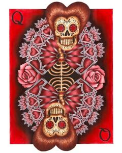 Queen by Gabe Londis Sugar Skull Poker Playing Card Tattoo Red Canvas Art Print