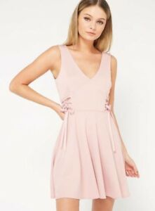 1847a9771a2c Image is loading Pink-Miss-Selfridge-Tie-Up-Lace-Skater-Dress-