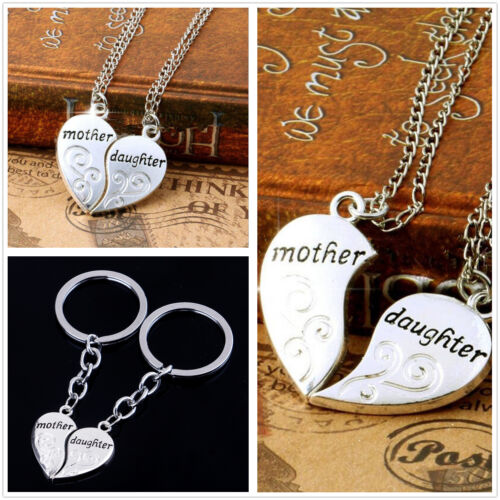 Silver 2PCS Set Mother and Daughter Forever Love Heart Necklace Pendant Keyrings